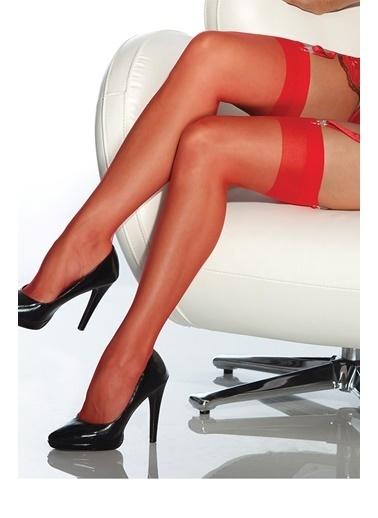 Merry See  Kırmızı Dantelsiz Jartiyer Çorabı Kırmızı